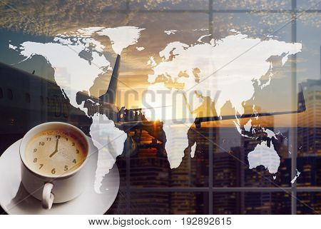 Airport coffee and traveling the world. City buildings and boarding queue. Double exposure collage. Elements of this image furnished by NASA