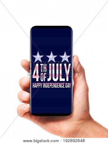 Mobile Independence Day. Modern bezel-less smartphone in male hand isolated on white background