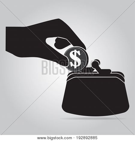 Coin in hand and purse icon. saving money or thief concept