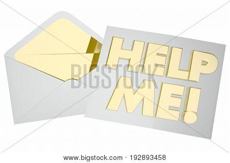 Help Me Envelope Plea for Assistance Support 3d Illustration