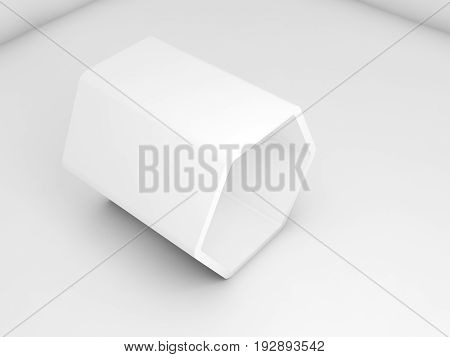 3D Hexagonal Object In Blank Room Interior