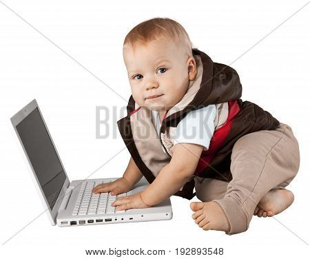 Cute boy laptop baby elementary age preadolescent child color