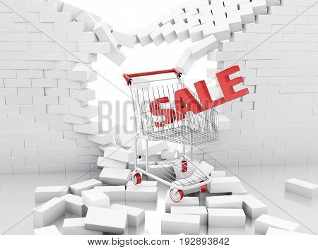 3D Sale Sign Of A Shopping Cart Breaking Through A Brick Wall