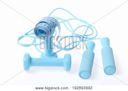 Couple Of Cyan Dumbbells And Skipping Rope, Blue Measuring Tape