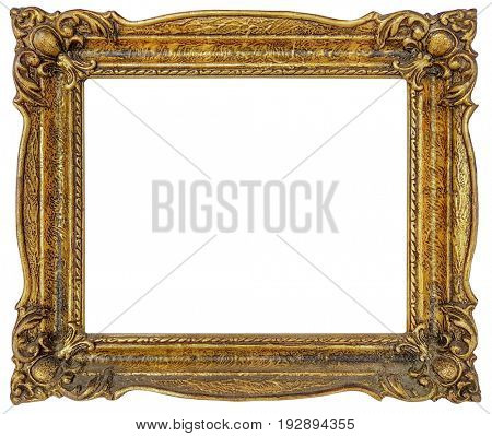 Old Empty Golden Frame Isolated with Clipping Path