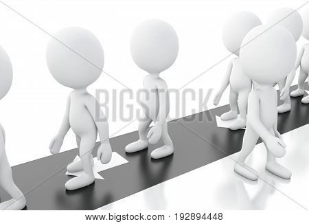 3D White People Choosing Different And Successful Way.