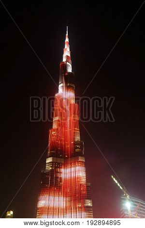 Night view to Burj Khalifa skyscraper - 10-01-2015 Dubai UAE