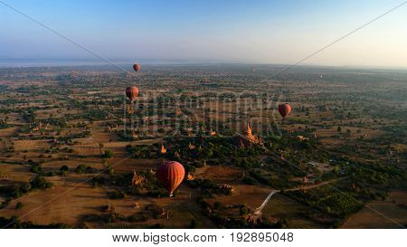 Ballooning in the dawn over Bagan a thousands of stupas - 05-01-2013 Bagan Myanmar
