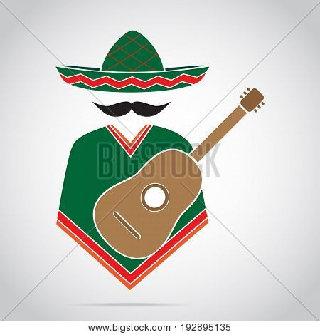 Man and guitar icon Mexican style illustration