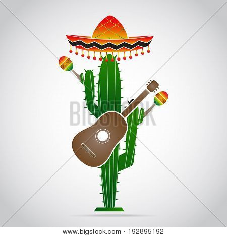 Sombrero cactus guitar maracas and hat icon mexican style