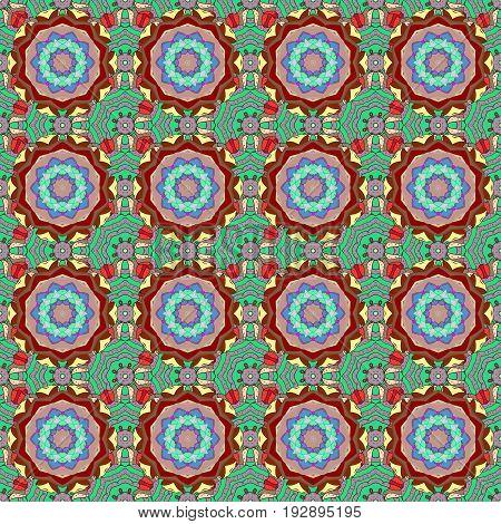Sacred geometric vector symbol with many petals flower. Colored mandala logo on background.