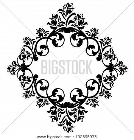 rose flowers frame ornament - black and white floral vector design