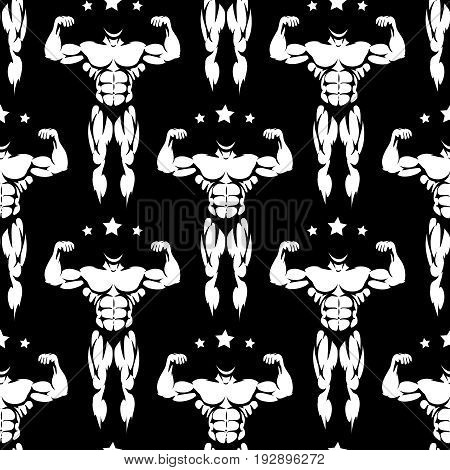 White male athletic body silhouettes and stars seamless pattern. Vector black and white athletic seamless background