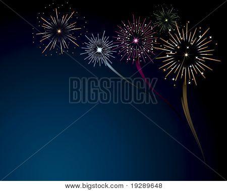 Fireworks Scene Vector