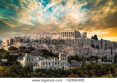 Parthenon Acropolis of Athens Under Dramatic Sunset sky of Greece
