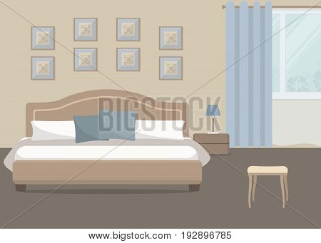 Bedroom in a beige color. There is a bed with blue pillows, a bedside table, a lamp on a window background in the image. There are also pictures on the wall. Vector flat illustration.