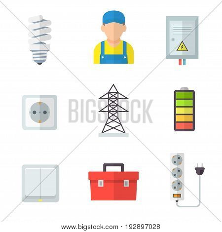 Electrician icon set, professional service, fit and fix, electrical equipment, lighting, control system in home and office. Vector flat style cartoon illustration isolated on white background