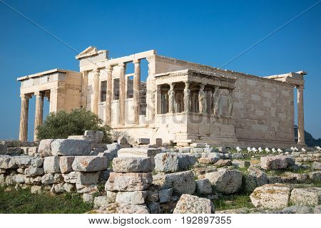 Erechtheion with Porch of the Caryatids Acropolis Athens Greece. Ancient Architecture.