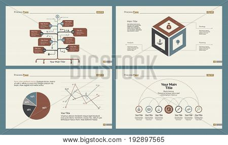 Infographic design set can be used for workflow layout, diagram, annual report, presentation, web design. Business and statistics concept with process, line, flow and pie charts.
