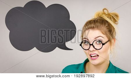 Confident Rude Business Woman With Thinking Bubble