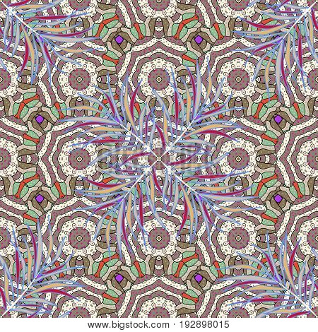 Boho style flower seamless pattern. Tiled mandala design best for print fabric or papper and more. Vector Mandala. Background.