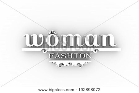 Emblem template with crown. Sign for fashion boutique. 3D rendering