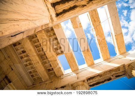 The ceiling of the Propylaea in the Acropolis Athens Greece. Ancient Architecture against blue sky.