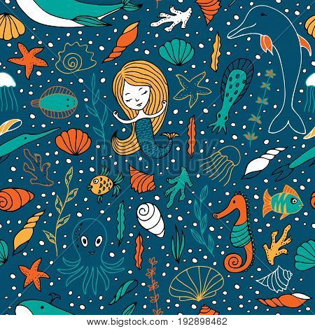 Seamless pattern marine life. Sea creatures are hand-drawn in Doodle style. Fish, seaweed, shells and mermaids.
