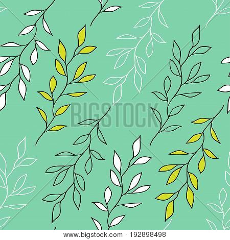 Green seamless pattern with branches. White and dark outlines of branches with green and white leaves on pale green background.
