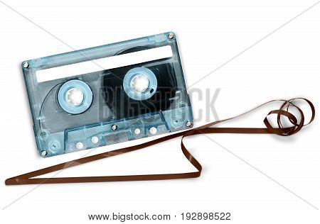 Audio tape cassette play white entertainment background