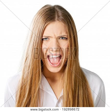 Business young portrait woman businesswoman yelling background