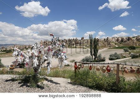 View Of Cappadocia With Wish Tree.in Turkey
