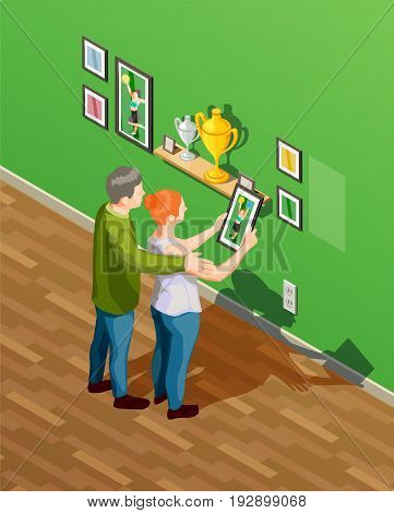Parents looking at photos and being proud of their daughter cheerleader 3d isometric vector illustration