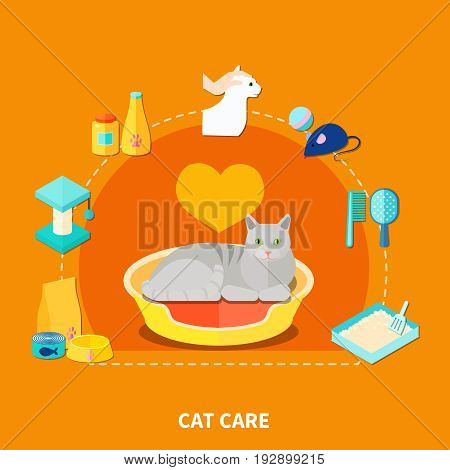 Flat design concept with various pet care accessories for cats on orange background vector illustration