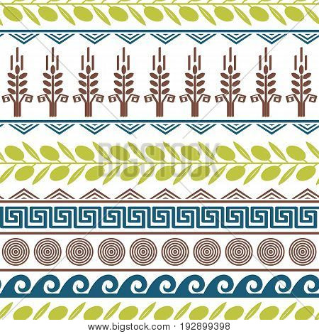 Cute seamless pattern with olives wheat and greek symbols.