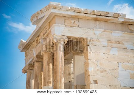 Temple of Nicky Ateros or Athena Nike at the Acropolis. Athens Greece.