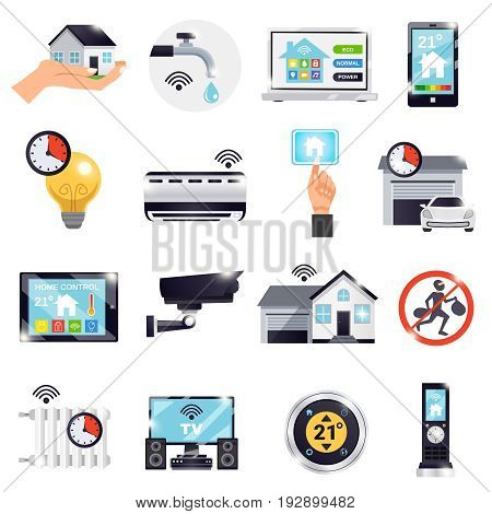 Isolated smart home icon set with electronically elements and attributes for better life vector illustration