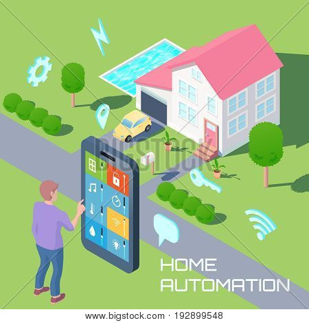 Home automation isometric design composition with man monitoring household devices by smartphone and smart house background vector illustration
