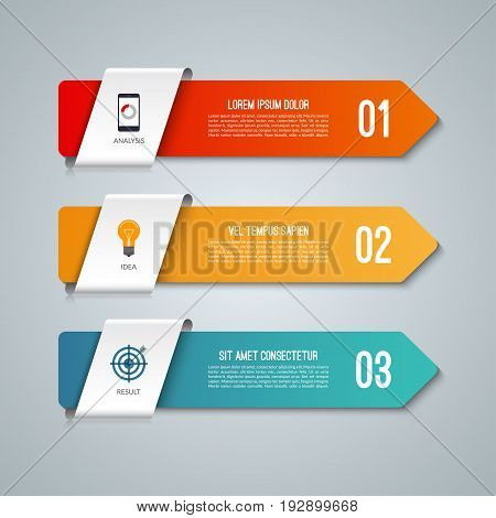 Arrow infographic elements. Business concept with 3 options. Vector illustration. Can be used for workflow layout, diagram, step by step infographics, graph, web design.