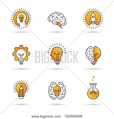 Icons set with brain light bulb human head. Creative idea mind nonstandard thinking logo. Isolated on white background