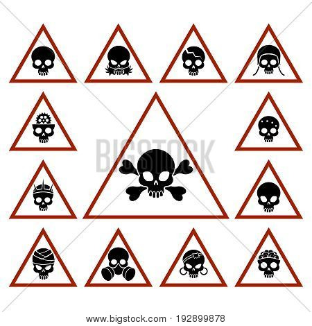 Danger icons with skulls in red triangles, vector illustration