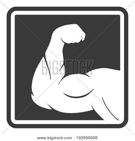 Power male muscle arm silhouette icon, vector illustration