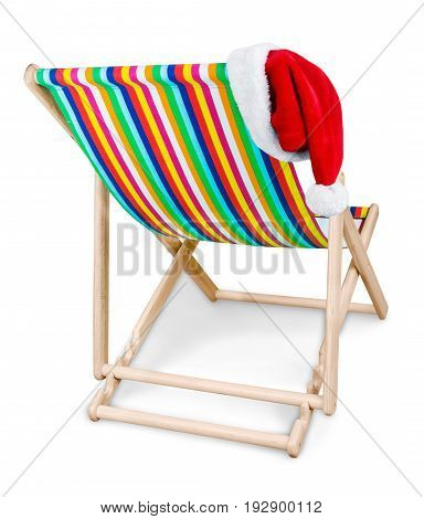 Chair deck deckchair santa hat new year no one color
