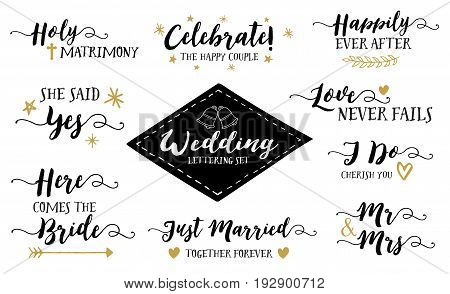 Wedding Hand Lettering Phrases Vector Set, She Said Yes, Mr. & Mrs., Here Comes the Bride, I Do Cherish you, Just Married, Love Never Fails, Happily Ever After & More, 9 designs in collection