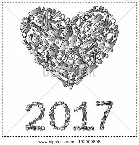 Happy new year 2017 design from hand tools for hardware store or unusual greeting card.