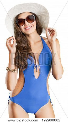 Blue beautiful woman swimsuit one person young adult one woman only