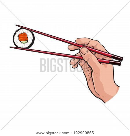 Hand holding Japanese, Chinese, Asian sushi, roll with pair of wooden chopsticks, sketch vector illustration isolated on white background. Human hand with chopsticks and sushi, roll with salmon