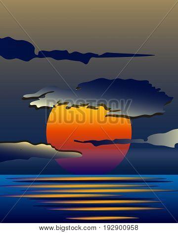 Bright yellow sunrise and sunset set. Vector illustration, EPS 10