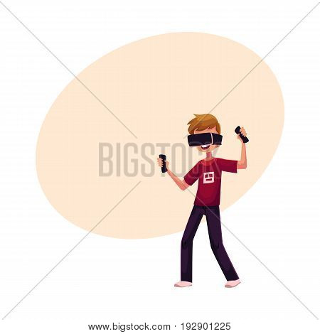 Boy wearing virtual reality headset, simulator, cartoon vector illustration with space for text. Teenager, boy wearing virtual reality simulator, headset, device, using computer technologies