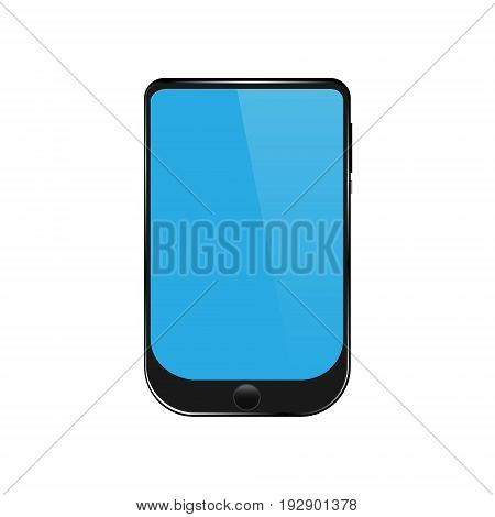Vector illustration black smartphone with highlights on the rim and a blue screen with a white highlight with a round button with a gradient on a white background.